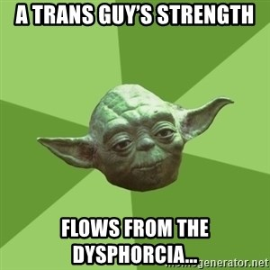 Advice Yoda Gives - A trans guy's strength Flows from the Dysphorcia...