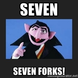 The Count from Sesame Street - Seven Seven Forks!