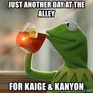 Kermit The Frog Drinking Tea - Just another day at the alley For Kaige & Kanyon