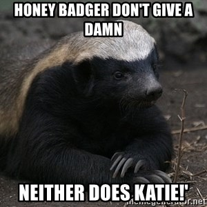 Honey Badger - Honey badger don't give a damn Neither does Katie!'