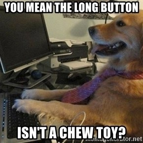 I have no idea what I'm doing - Dog with Tie - you mean the long button isn't a chew toy?
