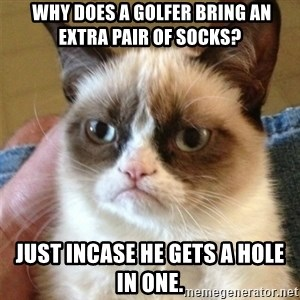 Grumpy Cat  - Why does a golfer bring an extra pair of socks? Just incase he gets a hole in one.