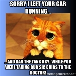 puss in boots eyes 2 - Sorry I left your car running... ...and ran the tank dry...while you were taking our sick kids to the doctor!