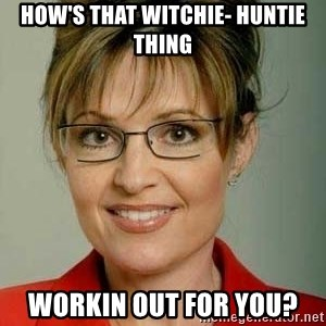 Sarah Palin - How's that witchie- huntie thing workin out for you?