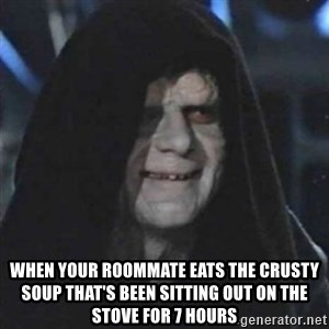 Sith Lord - when your roommate eats the crusty soup that's been sitting out on the stove for 7 hours