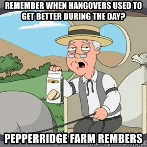Pepperidge Farm Remembers Meme - Remember when hangovers used to get better during the day? Pepperridge farm rembers