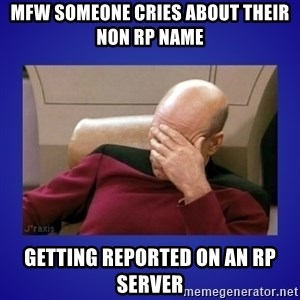 Picard facepalm  - MFW someone cries about their non RP name getting reported on an RP server