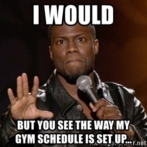 Kevin Hart - i would  but you see the way my                        gym schedule is set up...