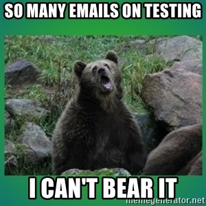Speedster Bear - so many emails on testing i can't bear it