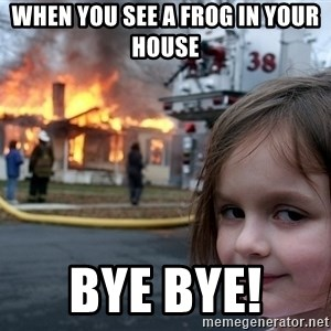 Disaster Girl - when you see a frog in your house  BYE BYE!
