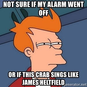 Futurama Fry - NOT SURE IF MY ALARM WENT OFF OR IF THIS CRAB SINGS LIKE JAMES HELTFIELD