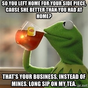 Kermit The Frog Drinking Tea - So you left home for your side piece, cause she better than you had at home?  That's your business, instead of mines. Long sip on my tea.