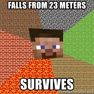 Minecraft Guy - falls from 23 meters survives