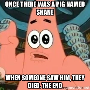 Patrick Says - Once there was a pig named shane When someone saw him, they died. The end
