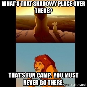 Lion King Shadowy Place - What's that shadowy place over there? That's Fun Camp.  You must never go there.