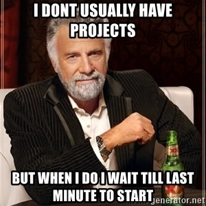 The Most Interesting Man In The World - I dont usually have projects but when I do i wait till last minute to start
