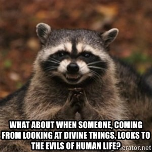 evil raccoon - What about when someone, coming from looking at divine things, looks to the evils of human life?