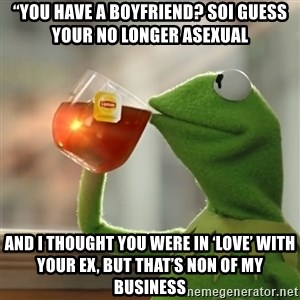 "Kermit The Frog Drinking Tea - ""You have a boyfriend? SoI guess your no longer asexual  And I thought you were in 'love' with your ex, but that's non of my business"
