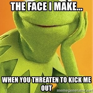 Kermit the frog - THE FACE I MAKE... WHEN YOU THREATEN TO KICK ME OUT
