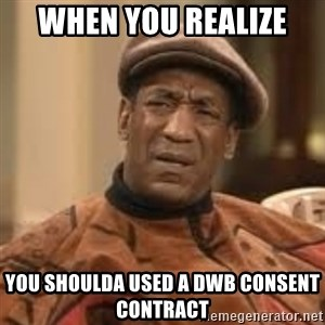 Confused Bill Cosby  - when you realize  you shoulda used a DWB consent contract