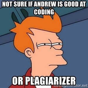 Futurama Fry - not sure if andrew is good at coding or plagiarizer
