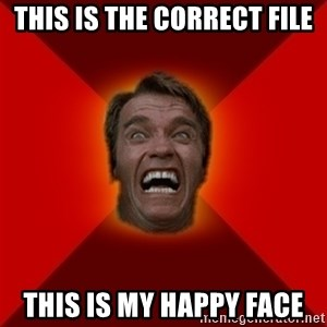 Angry Arnold - this is the correct file this is my happy face