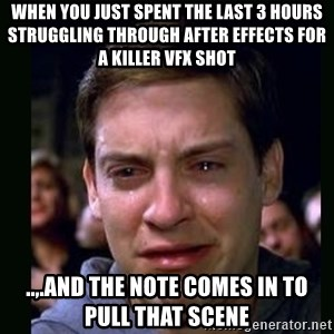 crying peter parker - When you just spent the last 3 hours struggling through After Effects for a killer VFX shot ..,.and the note comes in to pull that scene