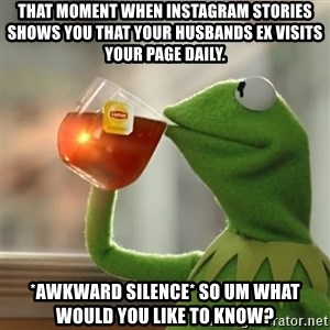 Kermit The Frog Drinking Tea - That moment when Instagram stories shows you that your husbands ex visits your page daily. *awkward silence* so um what would you like to know?