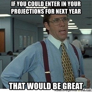 That would be great - If you could enter in your projections for next year that would be great