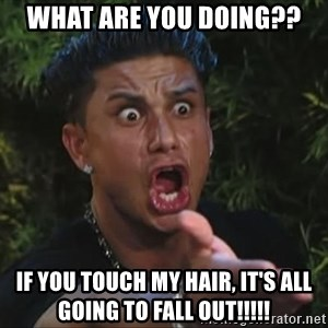 Pauly D - WHAT ARE YOU DOING?? IF YOU TOUCH MY HAIR, IT'S ALL GOING TO FALL OUT!!!!!