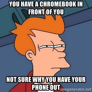Futurama Fry - You have a Chromebook in front of you not sure why you have your phone out
