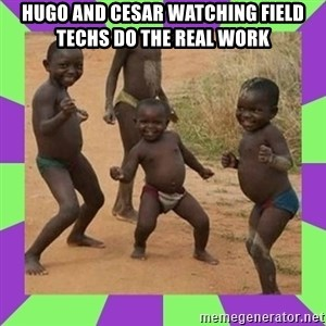 african kids dancing - Hugo and Cesar watching Field techs do the real work