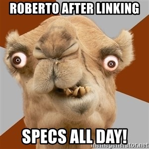Crazy Camel lol - roberto after linking specs all day!