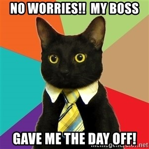 Business Cat - No worries!!  My boss Gave me the day off!