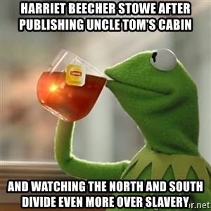 Kermit The Frog Drinking Tea - Harriet beecher stowe after publishing Uncle Tom's Cabin and watching the North and South divide even more over slavery