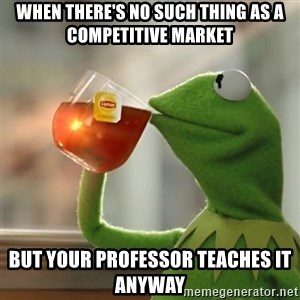 Kermit The Frog Drinking Tea - When there's no such thing as a competitive market but your professor teaches it anyway