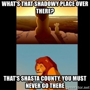 Lion King Shadowy Place - what's that shadowy place over there? that's Shasta County, you must never go there