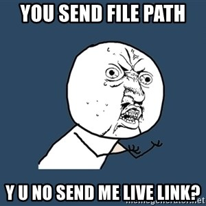 Y U No - You send File path  Y U No send me live link?