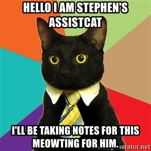 Business Cat - Hello I am stephen's assistcat i'll be taking notes for this meowting for him.