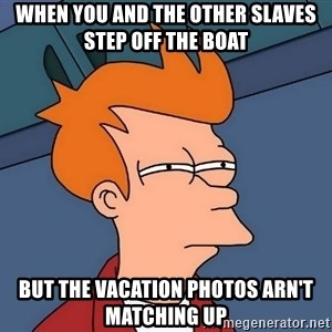 Futurama Fry - When you and the other slaves step off the boat but the vacation photos arn't matching up