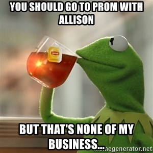 Kermit The Frog Drinking Tea - you should go to prom with allison but that's none of my business...