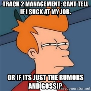 Not sure if troll - Track 2 Management: Cant tell if I suck at my job.  Or if its just the rumors and gossip.