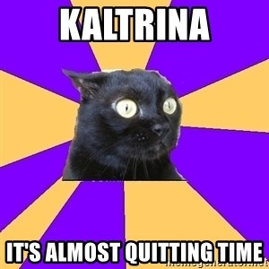 Anxiety Cat - Kaltrina It's Almost Quitting Time