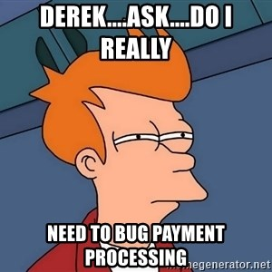 Futurama Fry - Derek....ask....Do I really need to bug payment processing