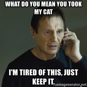 I don't know who you are... - What do you mean you took my cat I'm tired of this, just keep it.
