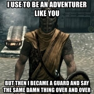 skyrim whiterun guard - I use to be an adventurer like you But then I became a guard and say the same damn thing over and over
