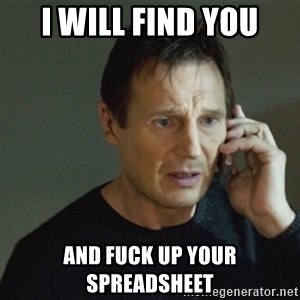 taken meme - I will find you And fuck up your spreadsheet