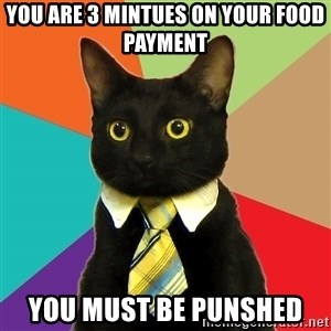 Business Cat - you are 3 mintues on your food payment you must be punshed