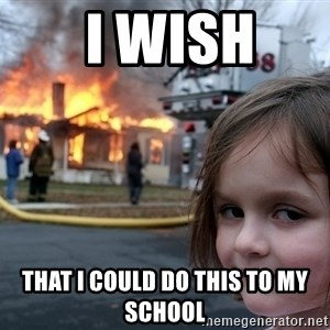 Disaster Girl - i wish  that i could do this to my school