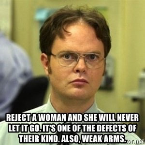 Dwight Meme - Reject a woman and she will never let it go. It's one of the defects of their kind. Also, weak arms.
